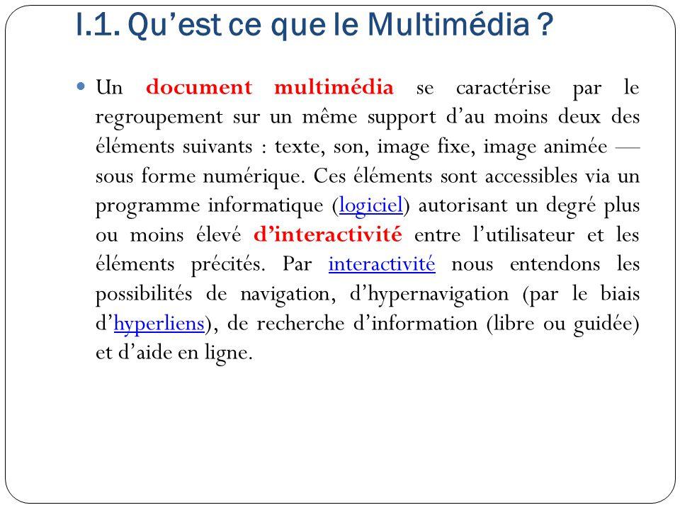 I.1. Qu'est ce que le Multimédia ? Un document multimédia se caractérise par le regroupement sur un même support d'au moins deux des éléments suivants