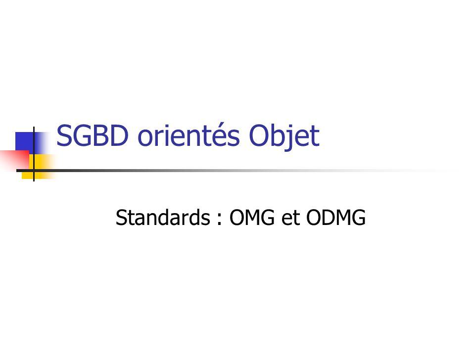 Object Management Group Eléments fondamentaux : Consortium industriel à but non lucratif fondé en 1989 Objectif : gérer les normes relatives aux objets.
