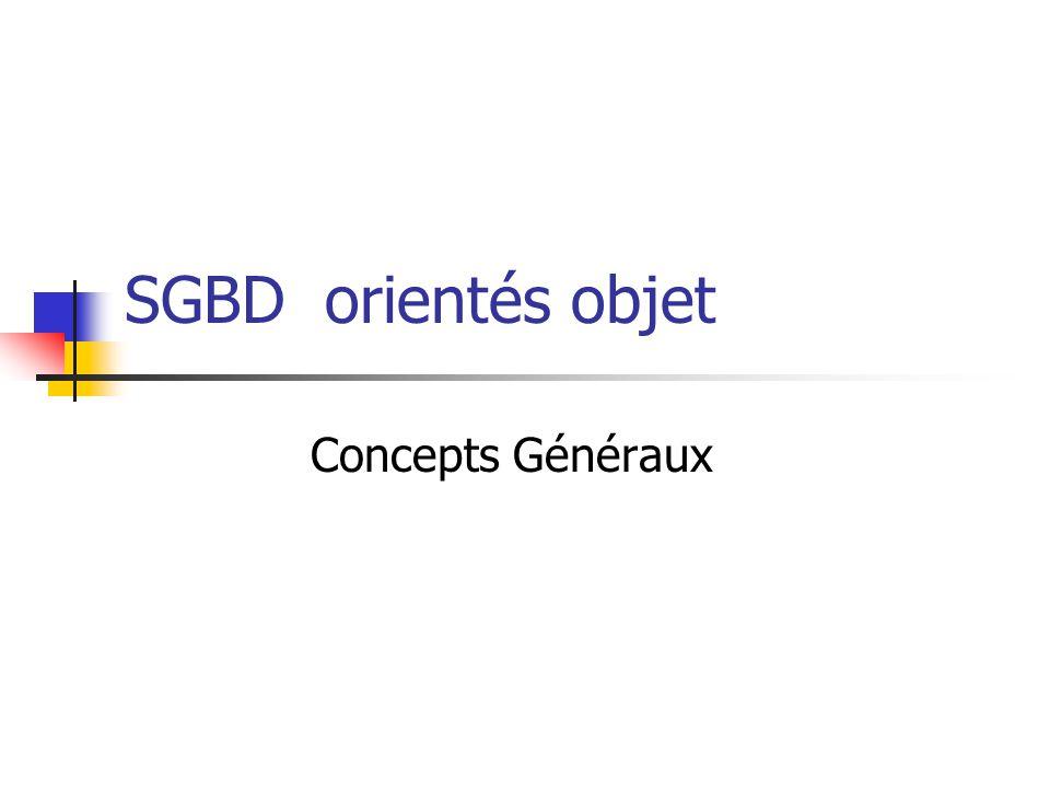 SGBD orientés objet Concepts Généraux