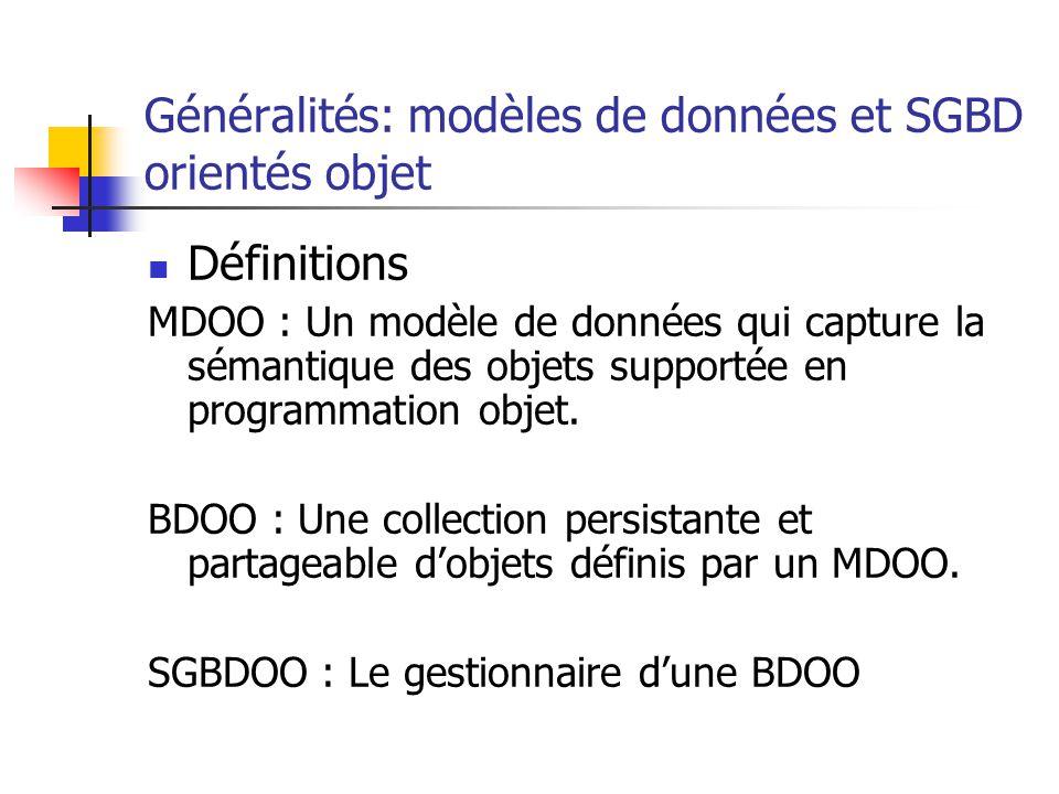 Généralités: modèles de données et SGBD orientés objet Définitions MDOO : Un modèle de données qui capture la sémantique des objets supportée en programmation objet.