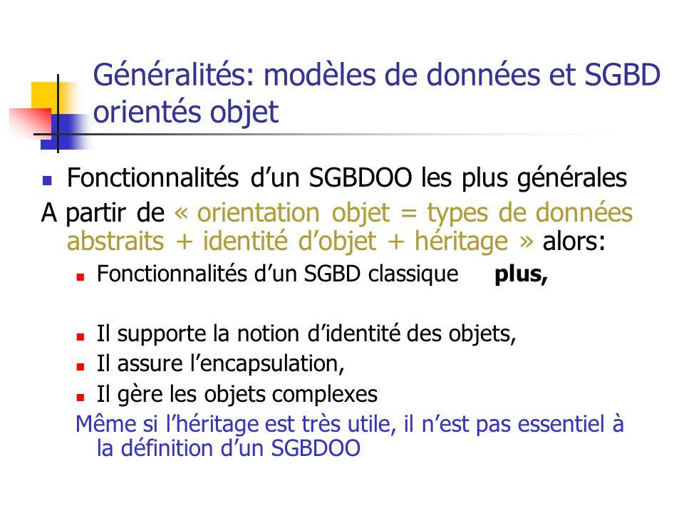 Généralités: modèles de données et SGBD orientés objet Fonctionnalités d'un SGBDOO les plus générales A partir de « orientation objet = types de données abstraits + identité d'objet + héritage » alors: Fonctionnalités d'un SGBD classique plus, Il supporte la notion d'identité des objets, Il assure l'encapsulation, Il gère les objets complexes Même si l'héritage est très utile, il n'est pas essentiel à la définition d'un SGBDOO