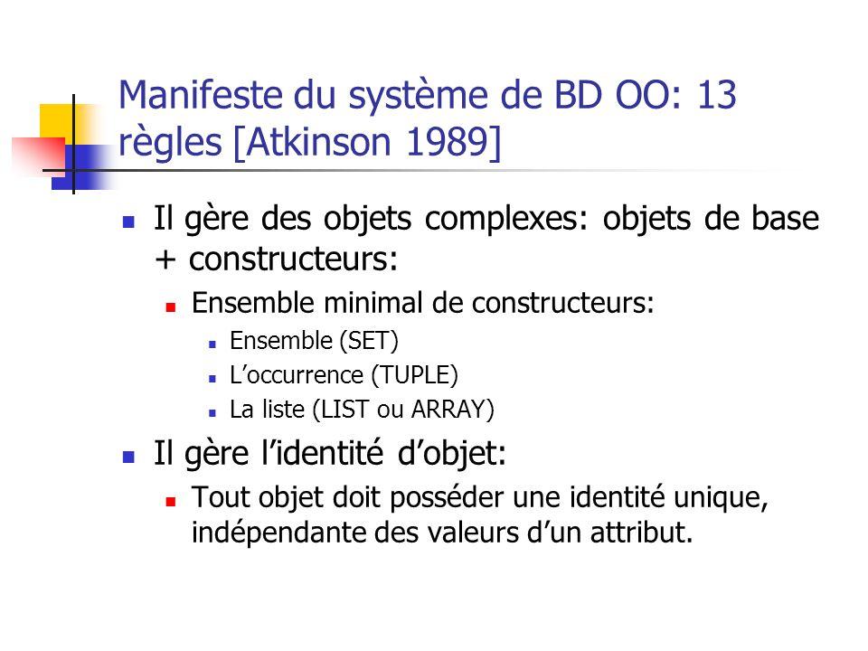 Manifeste du système de BD OO: 13 règles [Atkinson 1989] Il gère des objets complexes: objets de base + constructeurs: Ensemble minimal de constructeurs: Ensemble (SET) L'occurrence (TUPLE) La liste (LIST ou ARRAY) Il gère l'identité d'objet: Tout objet doit posséder une identité unique, indépendante des valeurs d'un attribut.