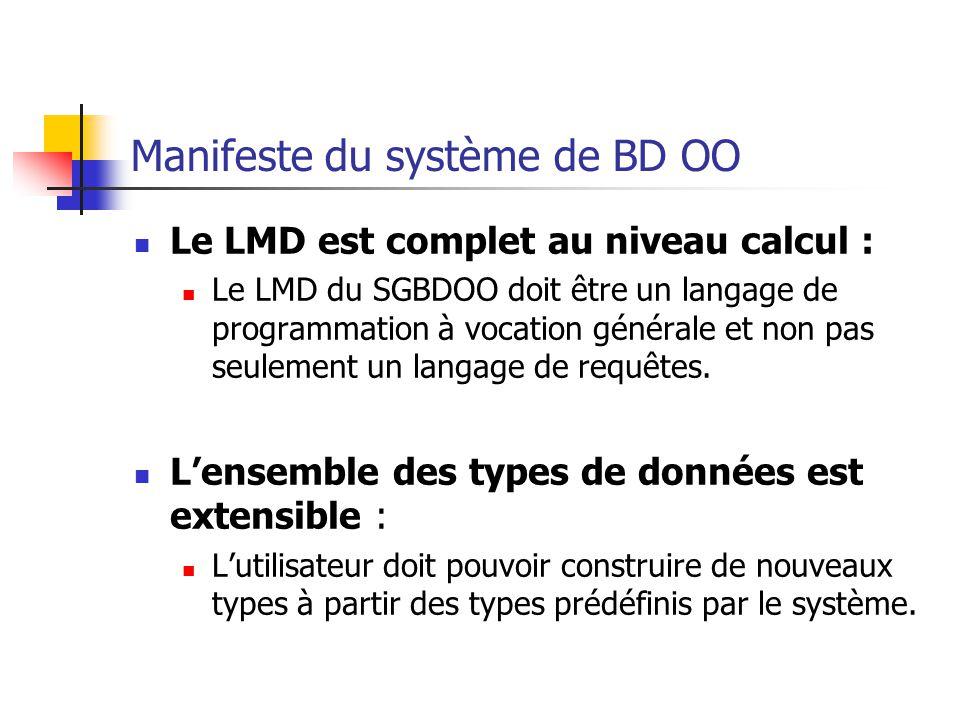 Le LMD est complet au niveau calcul : Le LMD du SGBDOO doit être un langage de programmation à vocation générale et non pas seulement un langage de requêtes.