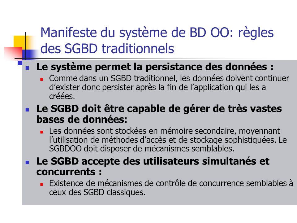 Manifeste du système de BD OO: règles des SGBD traditionnels Le système permet la persistance des données : Comme dans un SGBD traditionnel, les données doivent continuer d'exister donc persister après la fin de l'application qui les a créées.