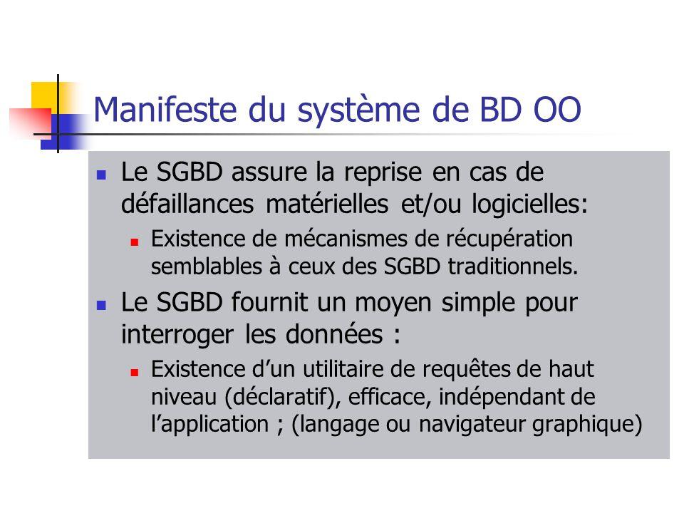 Manifeste du système de BD OO Le SGBD assure la reprise en cas de défaillances matérielles et/ou logicielles: Existence de mécanismes de récupération semblables à ceux des SGBD traditionnels.