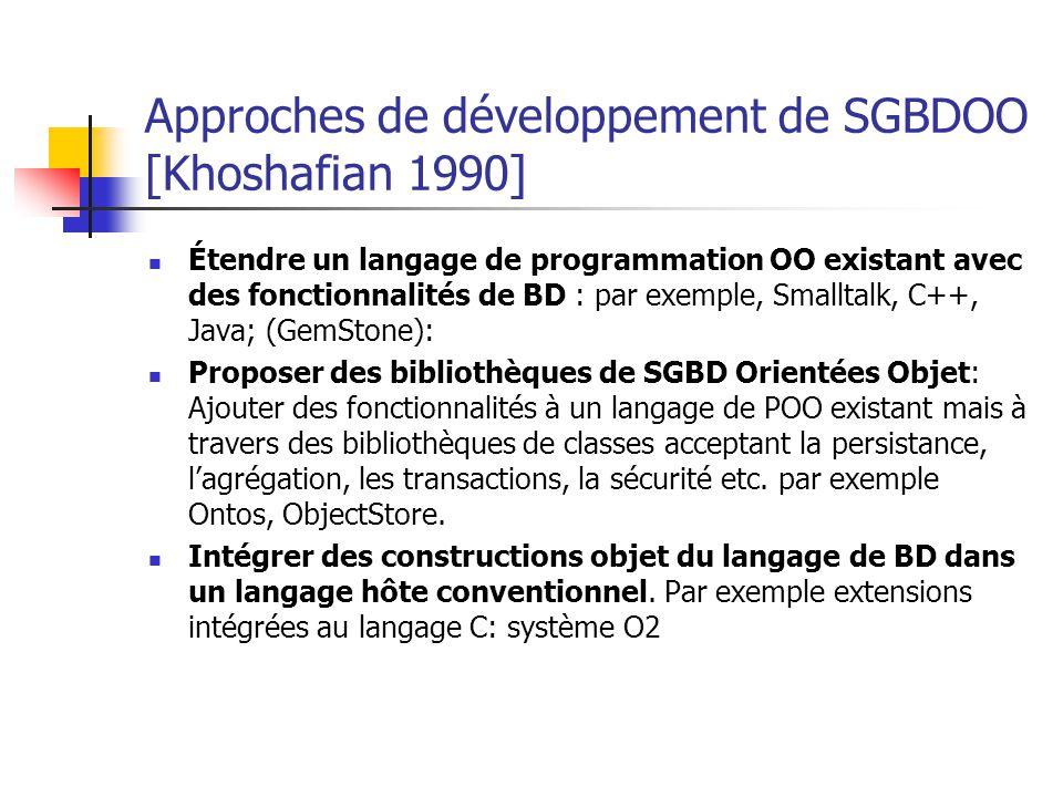 Approches de développement de SGBDOO [Khoshafian 1990] Étendre un langage de programmation OO existant avec des fonctionnalités de BD : par exemple, Smalltalk, C++, Java; (GemStone): Proposer des bibliothèques de SGBD Orientées Objet: Ajouter des fonctionnalités à un langage de POO existant mais à travers des bibliothèques de classes acceptant la persistance, l'agrégation, les transactions, la sécurité etc.