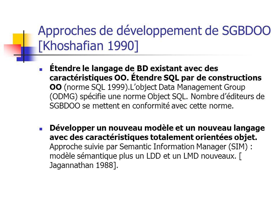Approches de développement de SGBDOO [Khoshafian 1990] Étendre le langage de BD existant avec des caractéristiques OO.