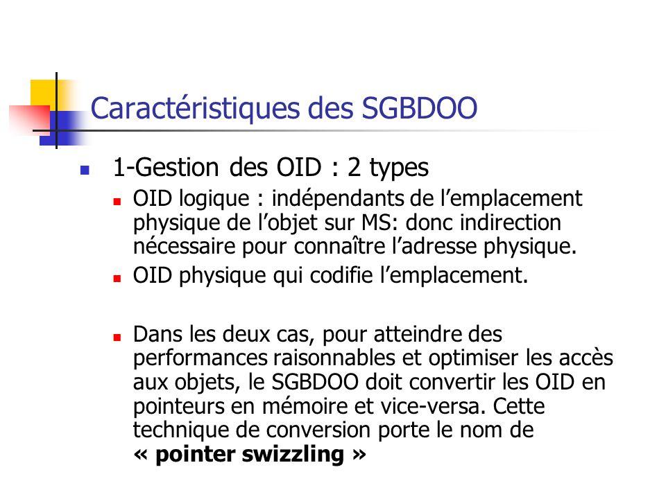 Caractéristiques des SGBDOO 1-Gestion des OID : 2 types OID logique : indépendants de l'emplacement physique de l'objet sur MS: donc indirection nécessaire pour connaître l'adresse physique.
