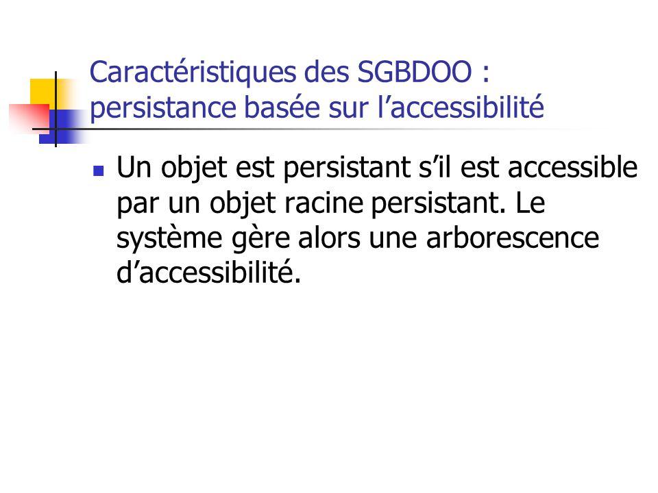 Caractéristiques des SGBDOO : persistance basée sur l'accessibilité Un objet est persistant s'il est accessible par un objet racine persistant.