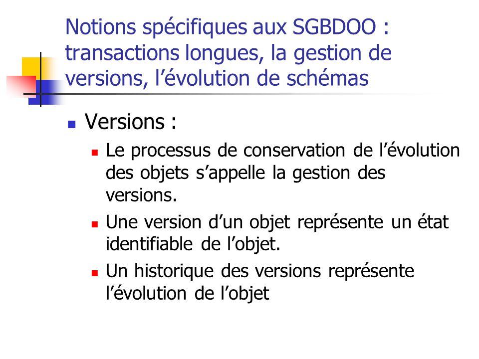 Notions spécifiques aux SGBDOO : transactions longues, la gestion de versions, l'évolution de schémas Versions : Le processus de conservation de l'évolution des objets s'appelle la gestion des versions.
