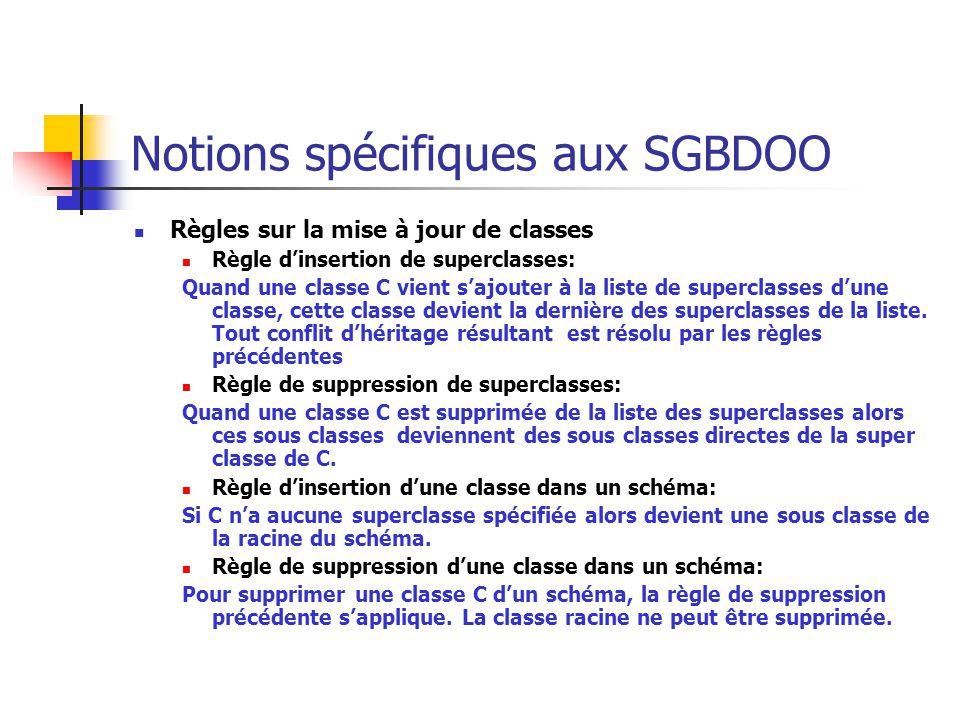 Notions spécifiques aux SGBDOO Règles sur la mise à jour de classes Règle d'insertion de superclasses: Quand une classe C vient s'ajouter à la liste de superclasses d'une classe, cette classe devient la dernière des superclasses de la liste.