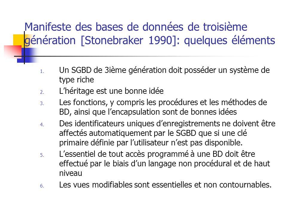 Manifeste des bases de données de troisième génération [Stonebraker 1990]: quelques éléments 1.