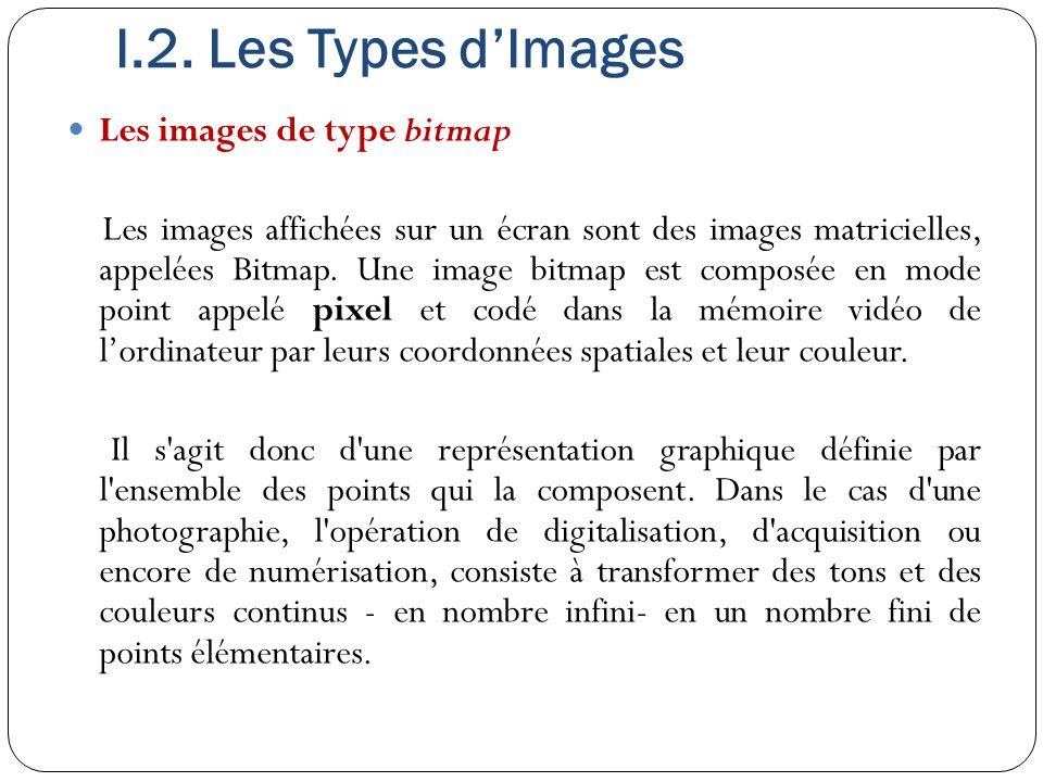 I.2. Les Types d'Images Les images de type bitmap Les images affichées sur un écran sont des images matricielles, appelées Bitmap. Une image bitmap es