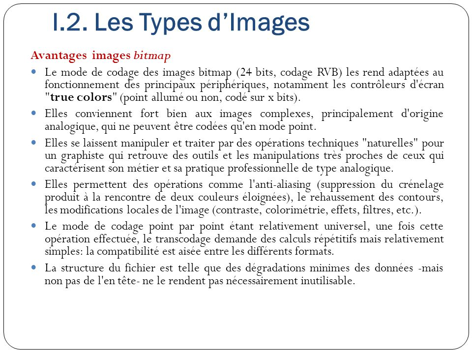 Avantages images bitmap Le mode de codage des images bitmap (24 bits, codage RVB) les rend adaptées au fonctionnement des principaux périphériques, no