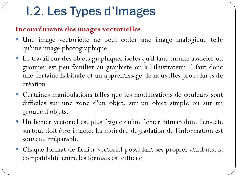 I.2. Les Types d'Images Inconvénients des images vectorielles Une image vectorielle ne peut coder une image analogique telle qu'une image photographiq