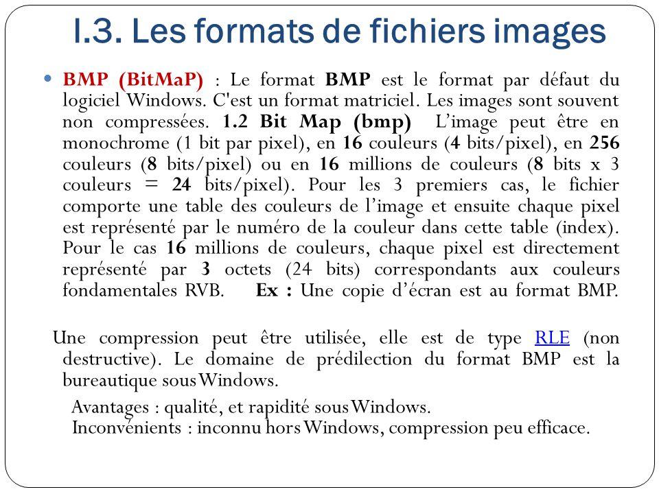 I.3. Les formats de fichiers images BMP (BitMaP) : Le format BMP est le format par défaut du logiciel Windows. C'est un format matriciel. Les images s