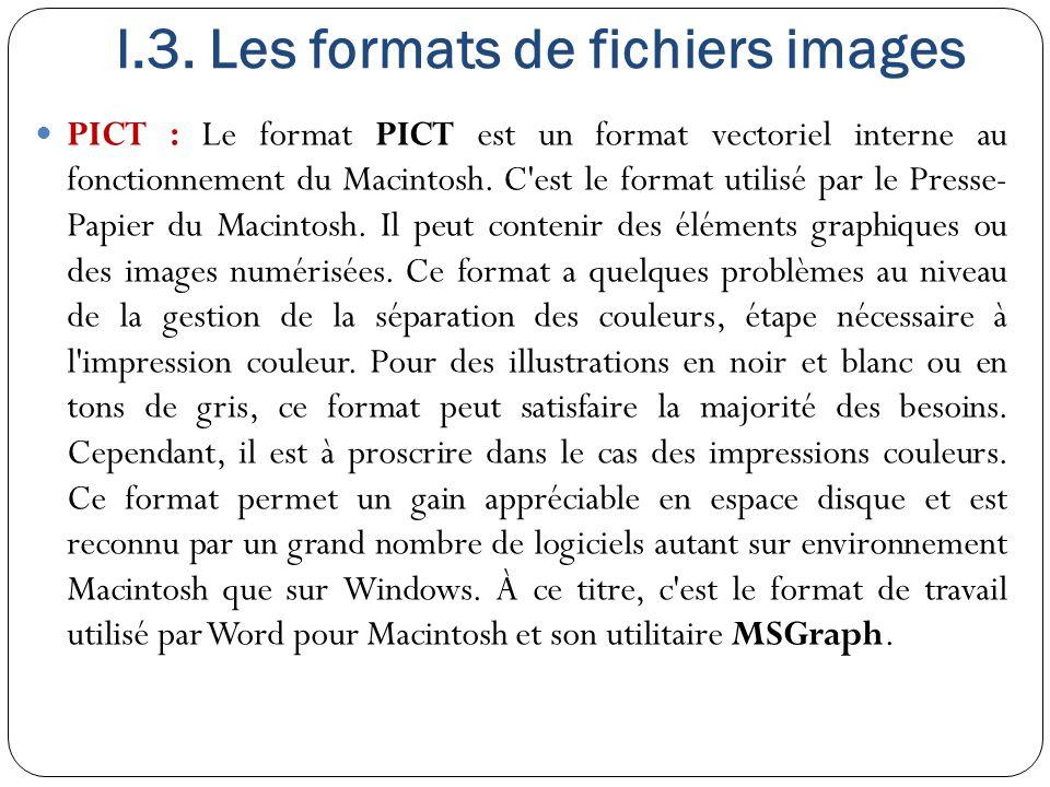 I.3. Les formats de fichiers images PICT : Le format PICT est un format vectoriel interne au fonctionnement du Macintosh. C'est le format utilisé par