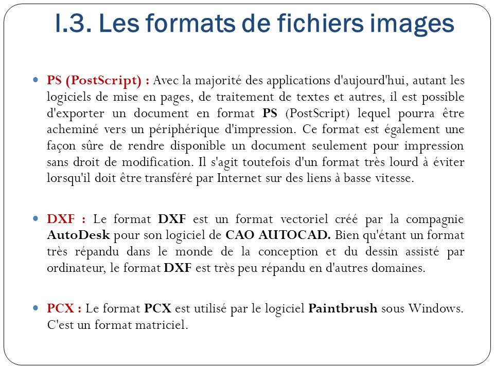 I.3. Les formats de fichiers images PS (PostScript) : Avec la majorité des applications d'aujourd'hui, autant les logiciels de mise en pages, de trait