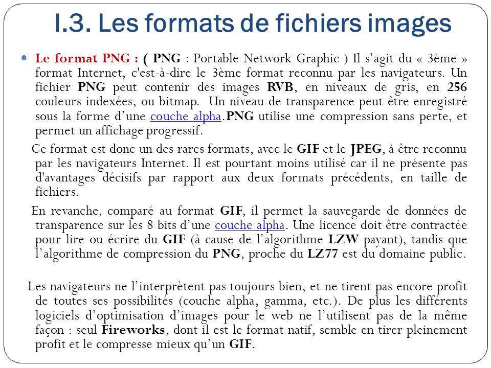 I.3. Les formats de fichiers images Le format PNG : ( PNG : Portable Network Graphic ) Il s'agit du « 3ème » format Internet, c'est-à-dire le 3ème for