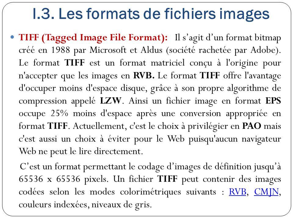 I.3. Les formats de fichiers images TIFF (Tagged Image File Format): Il s'agit d'un format bitmap créé en 1988 par Microsoft et Aldus (société racheté