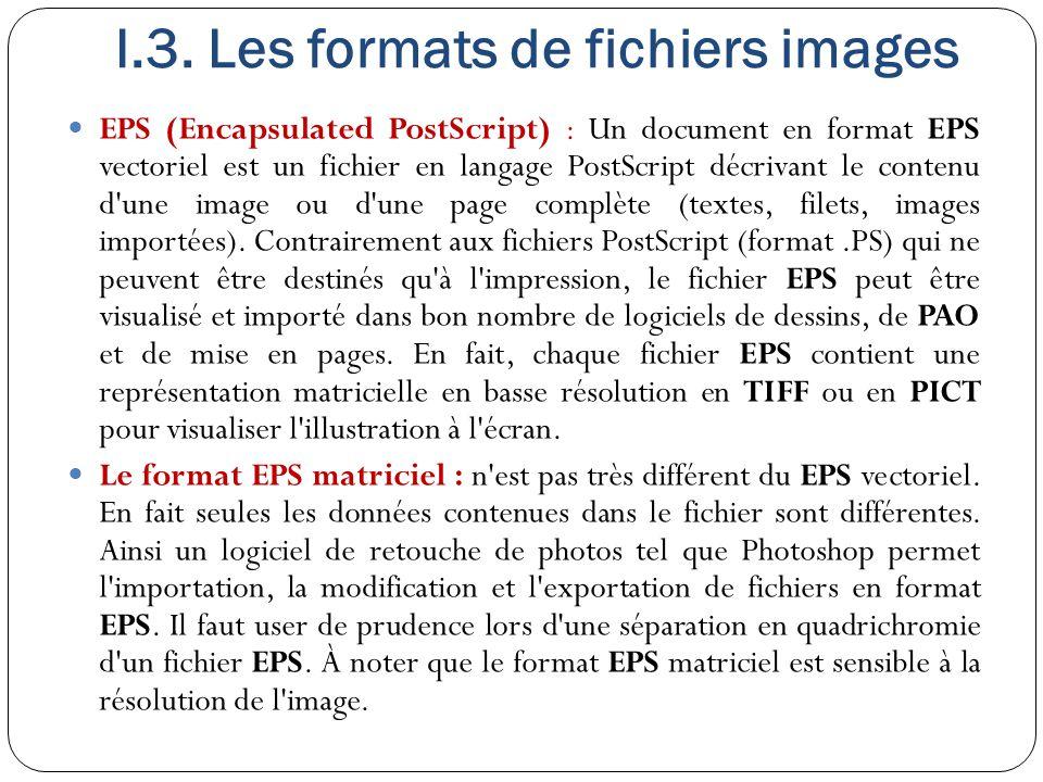 I.3. Les formats de fichiers images EPS (Encapsulated PostScript) : Un document en format EPS vectoriel est un fichier en langage PostScript décrivant