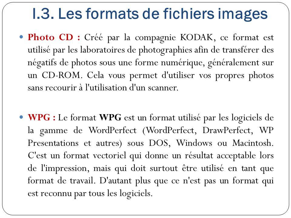 I.3. Les formats de fichiers images Photo CD : Créé par la compagnie KODAK, ce format est utilisé par les laboratoires de photographies afin de transf