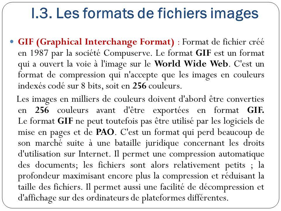 I.3. Les formats de fichiers images GIF (Graphical Interchange Format) : Format de fichier créé en 1987 par la société Compuserve. Le format GIF est u