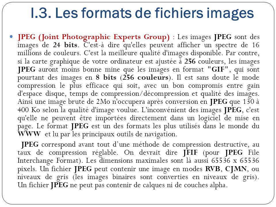 I.3. Les formats de fichiers images JPEG (Joint Photographic Experts Group) : Les images JPEG sont des images de 24 bits. C'est-à dire qu'elles peuven