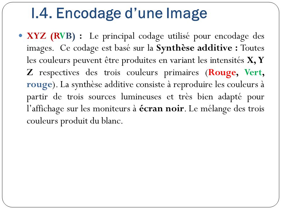 XYZ (RVB) : Le principal codage utilisé pour encodage des images. Ce codage est basé sur la Synthèse additive : Toutes les couleurs peuvent être produ