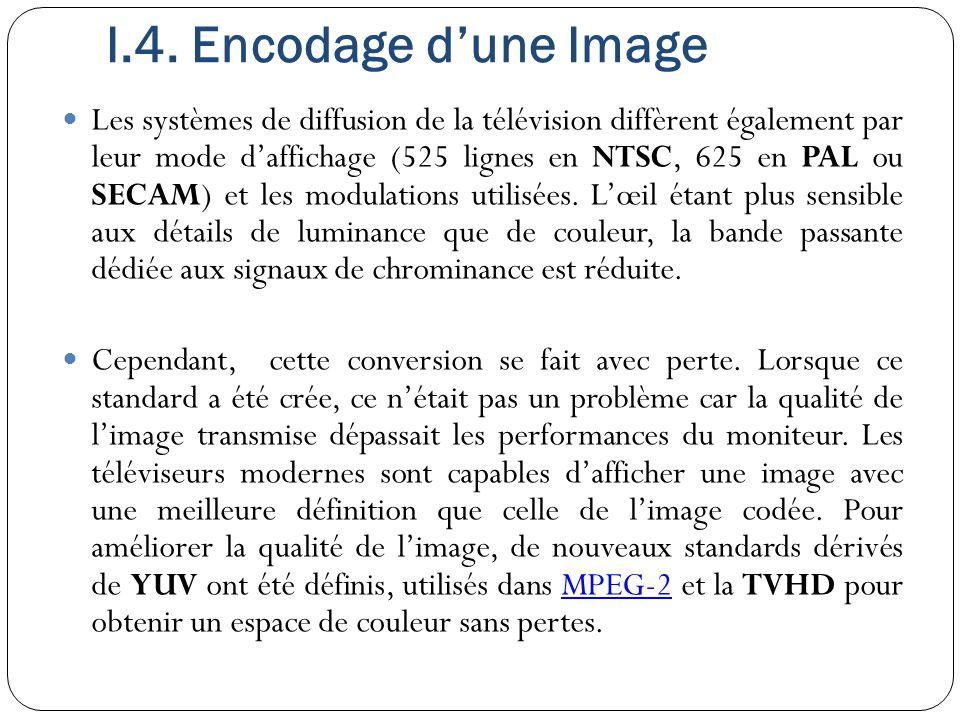 Les systèmes de diffusion de la télévision diffèrent également par leur mode d'affichage (525 lignes en NTSC, 625 en PAL ou SECAM) et les modulations