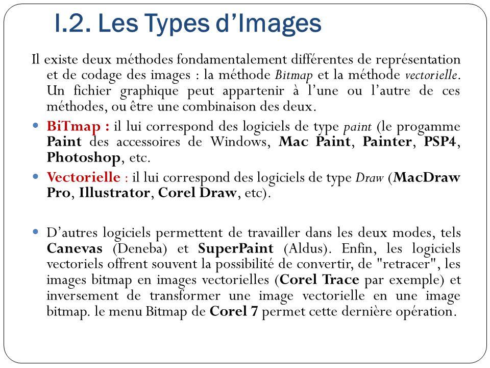 I.2. Les Types d'Images Il existe deux méthodes fondamentalement différentes de représentation et de codage des images : la méthode Bitmap et la métho