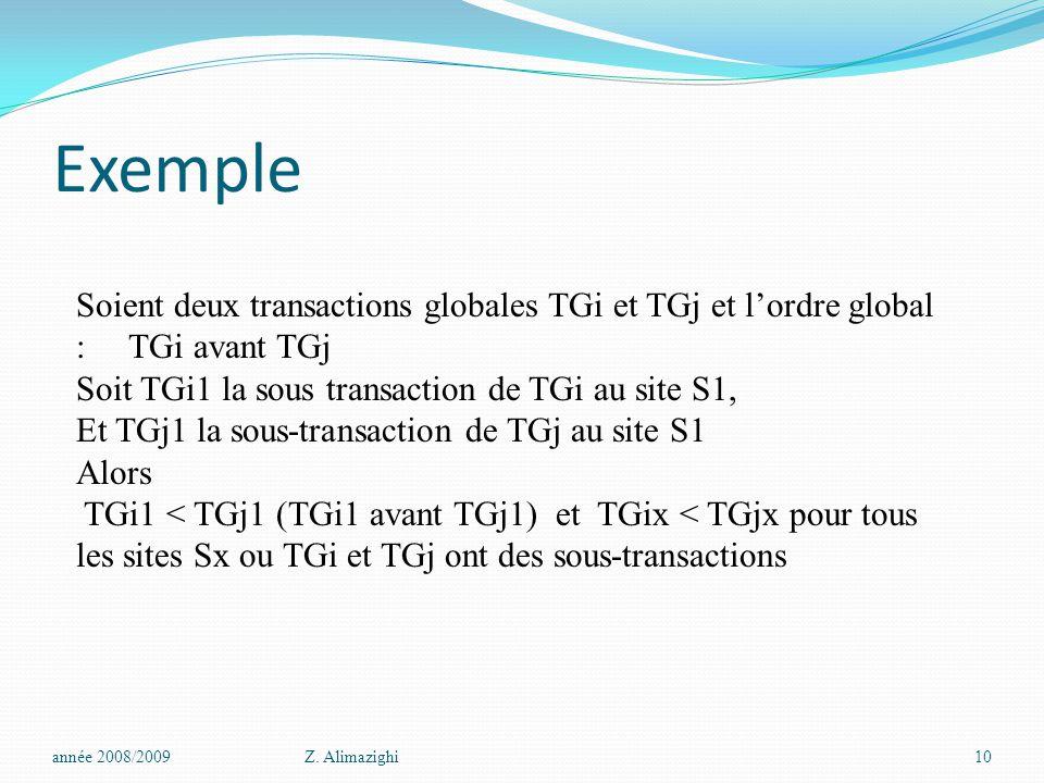 Exemple année 2008/2009Z. Alimazighi10 Soient deux transactions globales TGi et TGj et l'ordre global : TGi avant TGj Soit TGi1 la sous transaction de