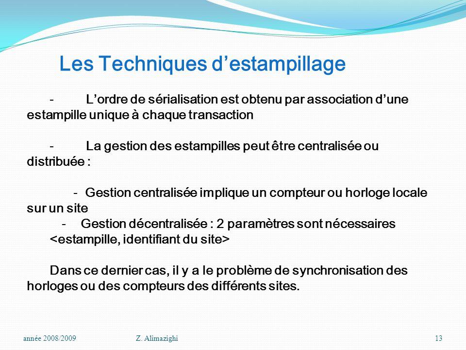 Les Techniques d'estampillage - L'ordre de sérialisation est obtenu par association d'une estampille unique à chaque transaction - La gestion des esta