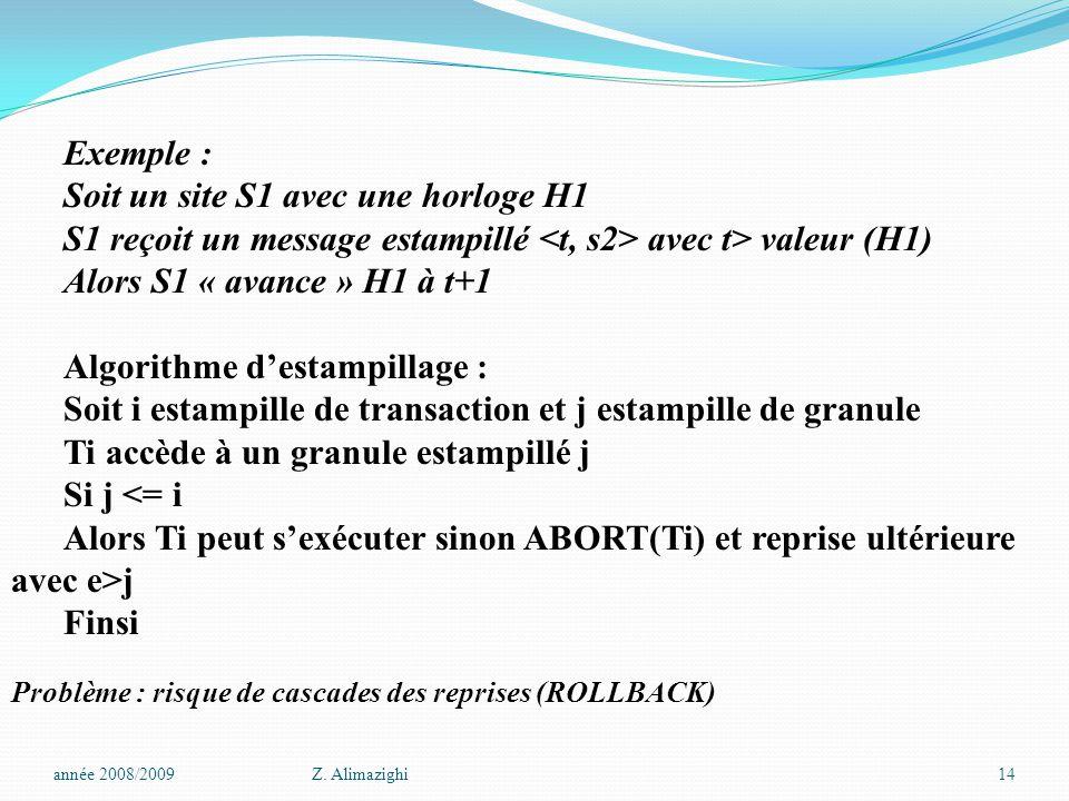 Exemple : Soit un site S1 avec une horloge H1 S1 reçoit un message estampillé avec t> valeur (H1) Alors S1 « avance » H1 à t+1 Algorithme d'estampillage : Soit i estampille de transaction et j estampille de granule Ti accède à un granule estampillé j Si j <= i Alors Ti peut s'exécuter sinon ABORT(Ti) et reprise ultérieure avec e>j Finsi Problème : risque de cascades des reprises (ROLLBACK) année 2008/2009Z.