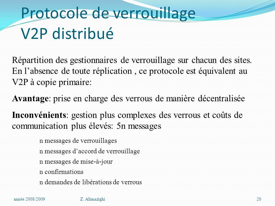 Protocole de verrouillage V2P distribué année 2008/2009Z. Alimazighi20 Répartition des gestionnaires de verrouillage sur chacun des sites. En l'absenc