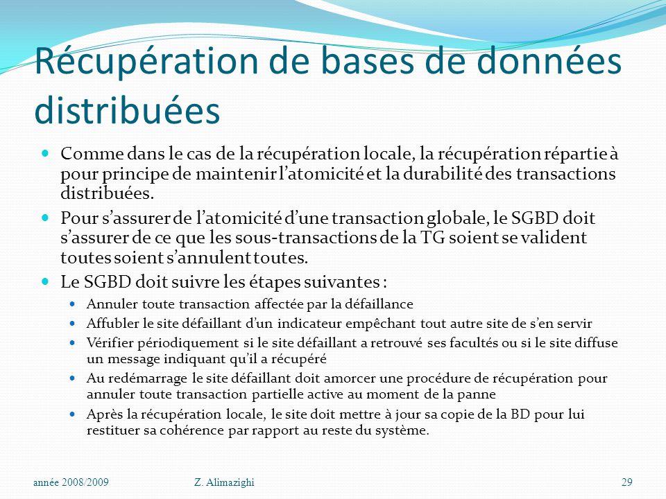 Récupération de bases de données distribuées Comme dans le cas de la récupération locale, la récupération répartie à pour principe de maintenir l'atomicité et la durabilité des transactions distribuées.