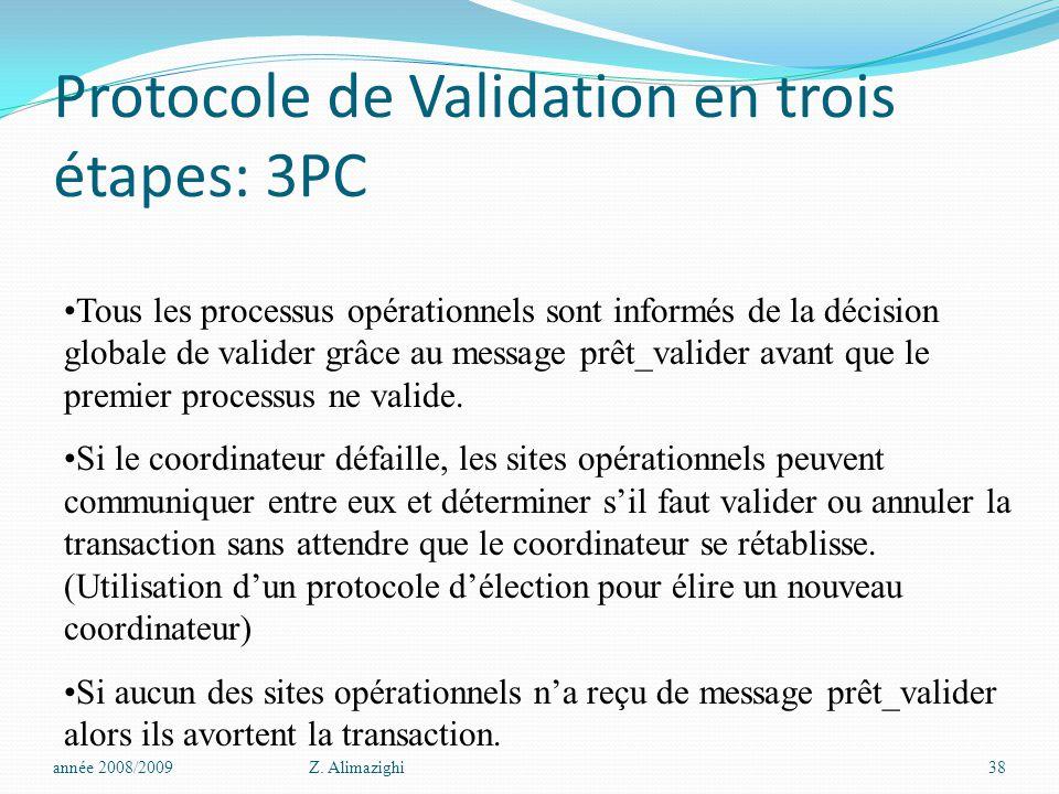 Protocole de Validation en trois étapes: 3PC année 2008/2009Z. Alimazighi38 Tous les processus opérationnels sont informés de la décision globale de v