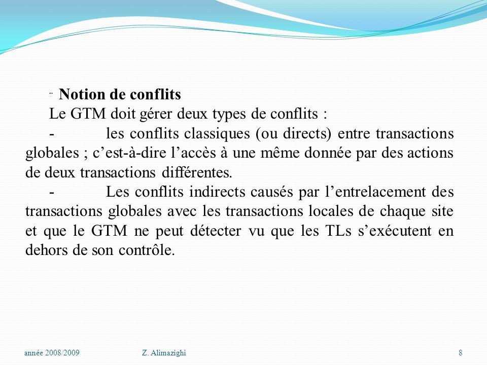  Notion de conflits Le GTM doit gérer deux types de conflits : - les conflits classiques (ou directs) entre transactions globales ; c'est-à-dire l'accès à une même donnée par des actions de deux transactions différentes.
