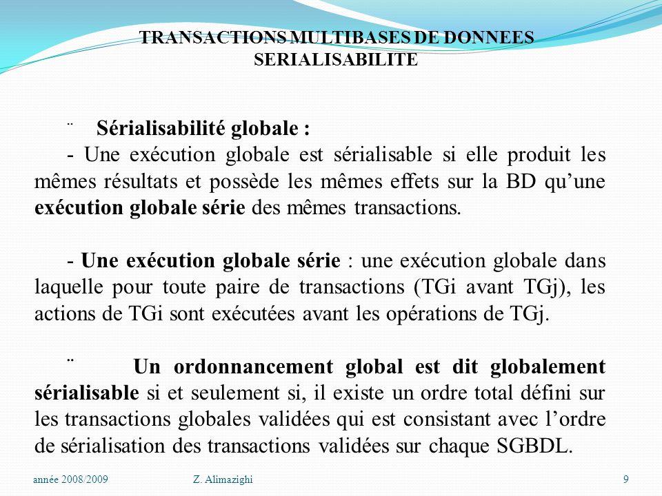 TRANSACTIONS MULTIBASES DE DONNEES SERIALISABILITE  Sérialisabilité globale : - Une exécution globale est sérialisable si elle produit les mêmes résultats et possède les mêmes effets sur la BD qu'une exécution globale série des mêmes transactions.