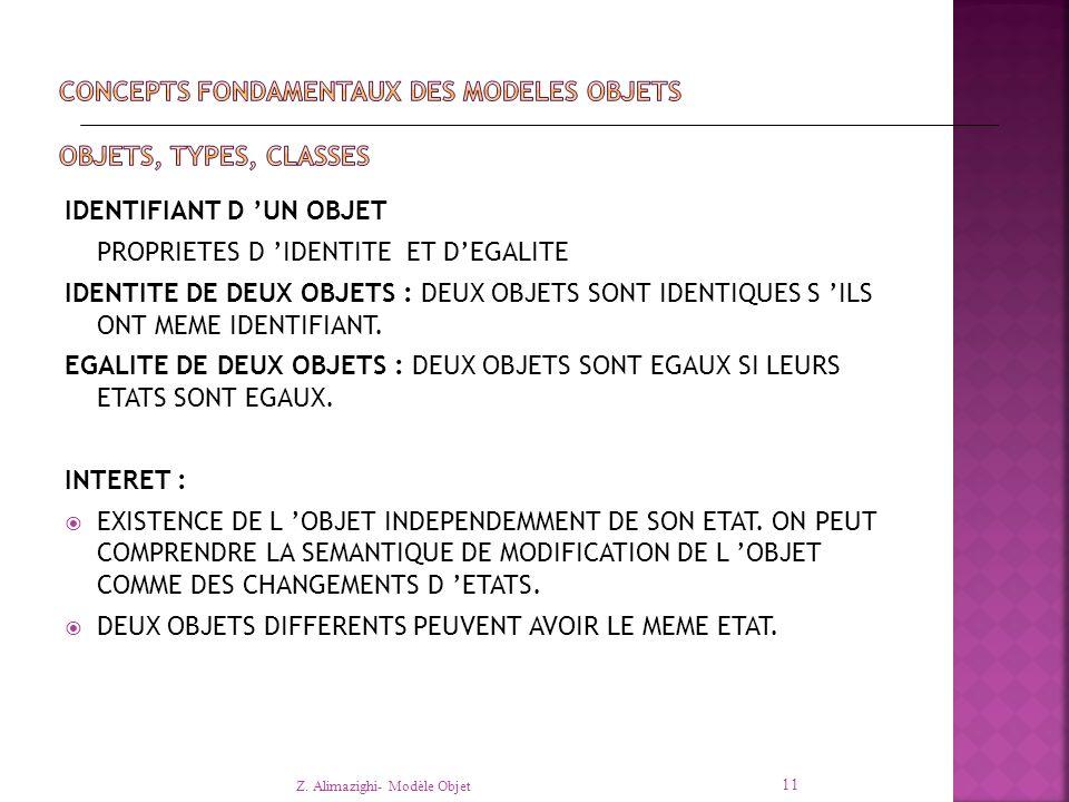 IDENTIFIANT D 'UN OBJET PROPRIETES D 'IDENTITE ET D'EGALITE IDENTITE DE DEUX OBJETS : DEUX OBJETS SONT IDENTIQUES S 'ILS ONT MEME IDENTIFIANT.