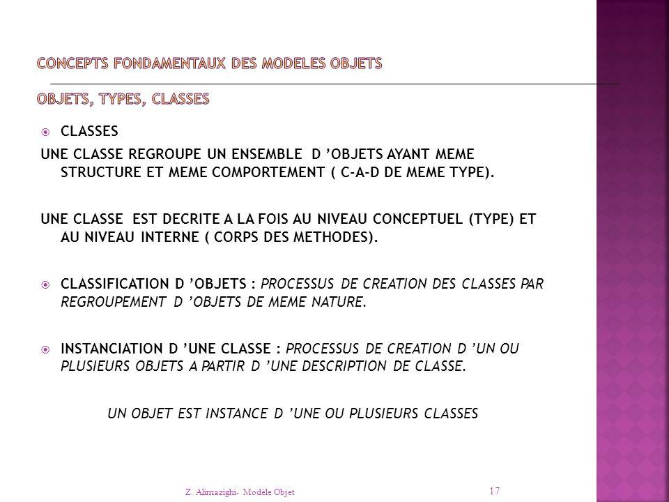  CLASSES UNE CLASSE REGROUPE UN ENSEMBLE D 'OBJETS AYANT MEME STRUCTURE ET MEME COMPORTEMENT ( C-A-D DE MEME TYPE).