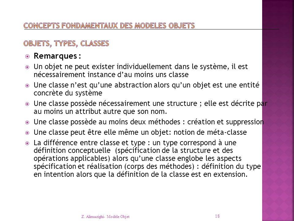  Remarques :  Un objet ne peut exister individuellement dans le système, il est nécessairement instance d'au moins uns classe  Une classe n'est qu'une abstraction alors qu'un objet est une entité concrète du système  Une classe possède nécessairement une structure ; elle est décrite par au moins un attribut autre que son nom.