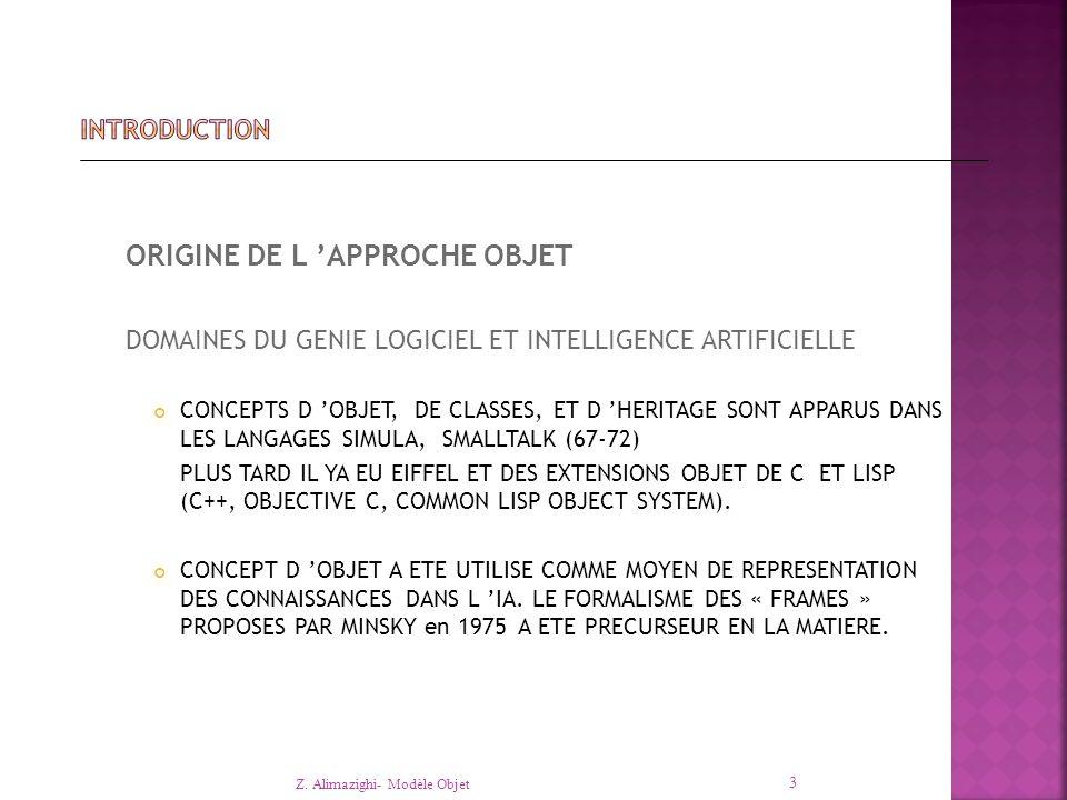 ORIGINE DE L 'APPROCHE OBJET DOMAINES DU GENIE LOGICIEL ET INTELLIGENCE ARTIFICIELLE CONCEPTS D 'OBJET, DE CLASSES, ET D 'HERITAGE SONT APPARUS DANS LES LANGAGES SIMULA, SMALLTALK (67-72) PLUS TARD IL YA EU EIFFEL ET DES EXTENSIONS OBJET DE C ET LISP (C++, OBJECTIVE C, COMMON LISP OBJECT SYSTEM).