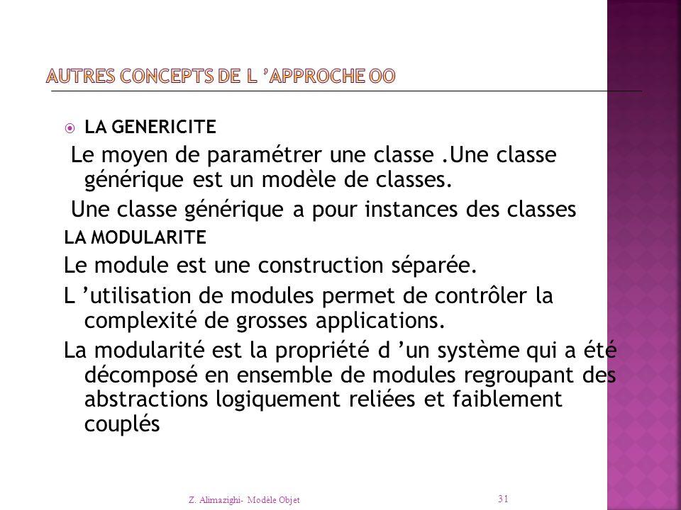  LA GENERICITE Le moyen de paramétrer une classe.Une classe générique est un modèle de classes.