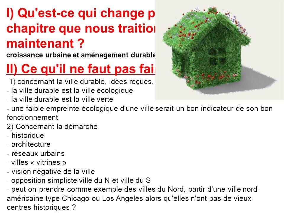I) Qu'est-ce qui change par rapport au chapitre que nous traitions jusqu'à maintenant ? croissance urbaine et aménagement durable II) Ce qu'il ne faut