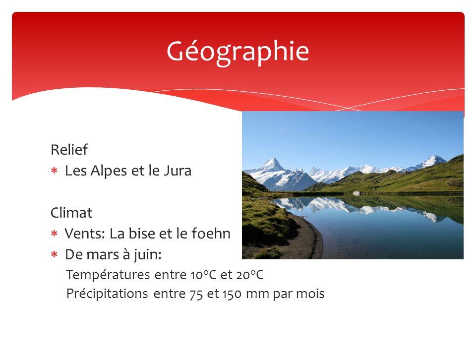 Relief  Les Alpes et le Jura Climat  Vents: La bise et le foehn  De mars à juin: Températures entre 10 o C et 20 o C Précipitations entre 75 et 150 mm par mois Géographie