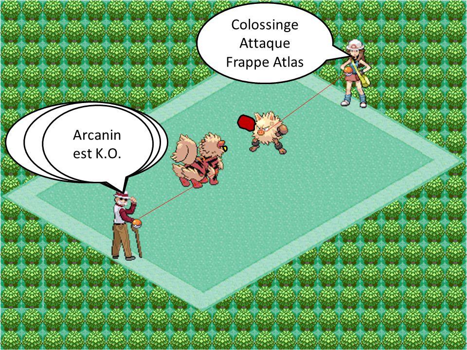 Colossinge Attaque Poing-Karaté Arcanin Attaque Vitesse Extrême Colossinge Attaque Frappe Atlas Arcanin Attaque Crocs Éclair Arcanin est K.O.