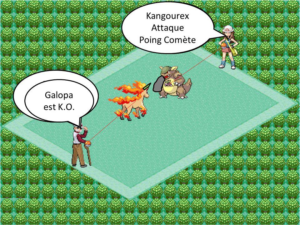 Kangourex Attaque Ultimapoing Galopa Attaque Mégacorne Kangourex Attaque Poing Comète Galopa Attaque Écrasement Galopa est K.O.