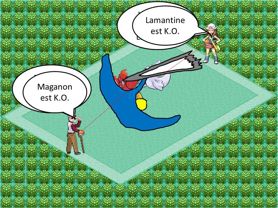 Lamantine Attaque Saumure Maganon Attaque Poing Éclair Lamantine Attaque Laser Glace Maganon Attaque Ultralaser Lamantine est K.O. Maganon est K.O.