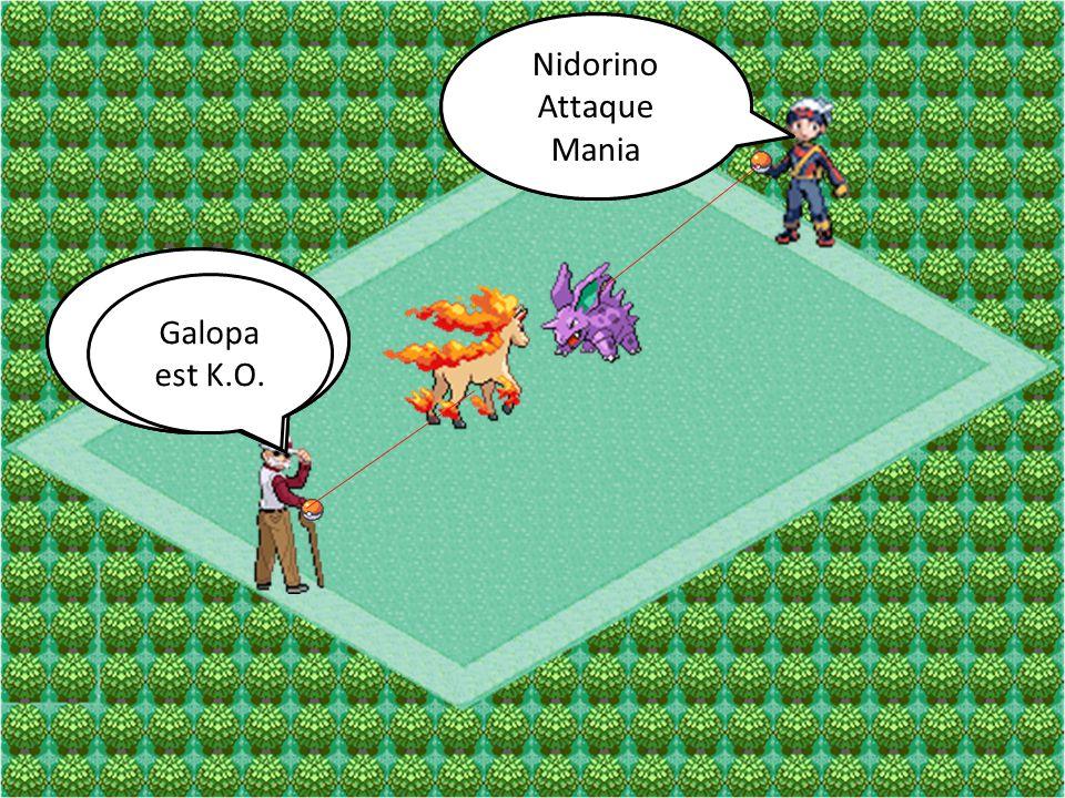 Galopa Attaque Écrasement Nidorino Attaque Double-Pied Galopa Attaque Rebond Nidorino Attaque Mania Galopa est K.O.